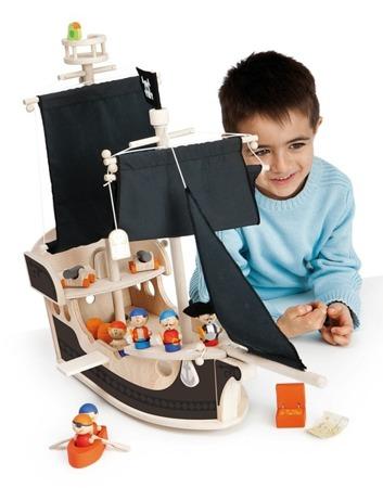 Duży drewniany statek piracki z wyposażeniem - 23 el., SEVI