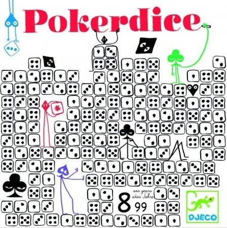 Gra POKER DICE - drewniane kości dla dzieci, 8 lat +, DJECO DJ08480