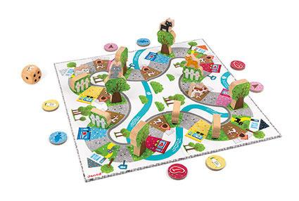 Gra planszowa strategiczna, plansza + figurki wyścig Koty, JANOD