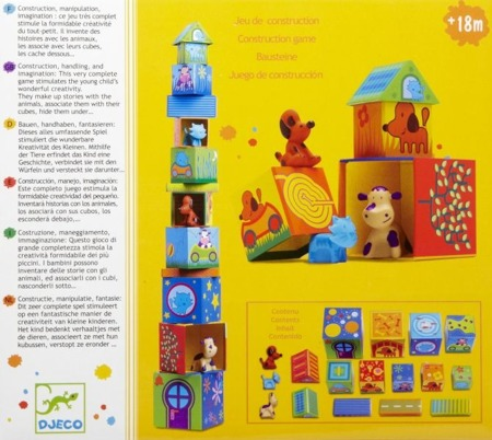 Klocki dla dzieci domki ze zwierzątkami - kartonowe klocki piramida Caubanimo, Djeco