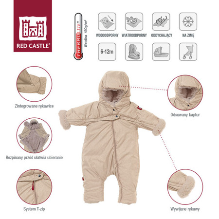 Kombinezon zimowy ocieplany z kapturem dla niemowlaka 6 - 12 m, Combi T-ZIP 6-12m Heather Beige, Red Castle