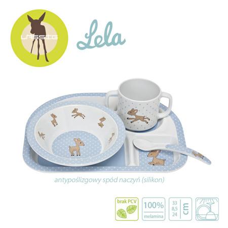 Komplet naczyń z melaminy dla dzieci - zestaw Lela pastelowy niebieski, Lassig