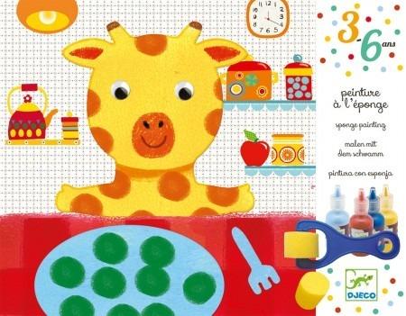 Kreatywny zestaw małego artysty: farby, wałek i akcesoria - koloruj z żyrafą, DJECO DJ09880