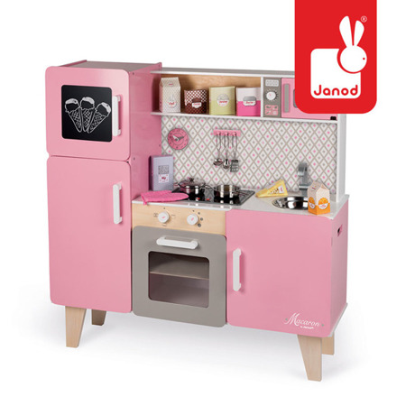 Kuchnia drewniana różowa dla dzieci XL z dźwiękiem i 15 akcesoriami Macaron, Janod