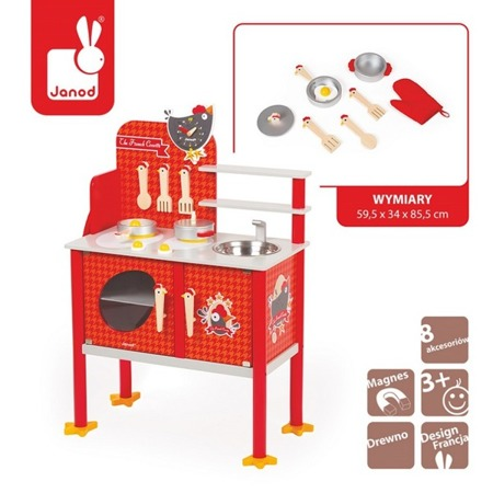 Kuchnia duża French Cocotte - drewniana kuchnia dla dzieci z akcesoriami, JANOD