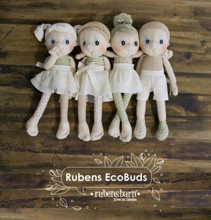 Lalka Eco Buds Hazel - ręcznie robiona laleczka z bawełnyorganicznej ok. 35cm, Rubens Barn