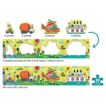 Metrowe puzzle podłogowe Transport 30 elementów 3+, pojazdy, Mudpuppy