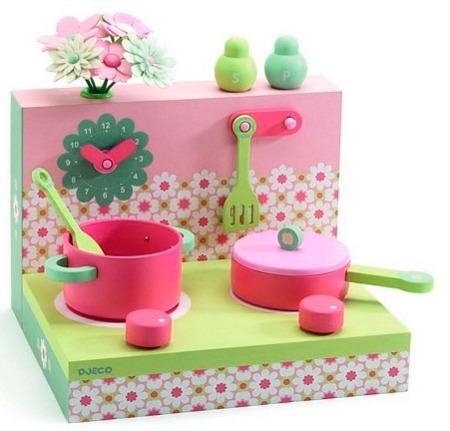 Mini kuchnia pastelowa dla dzieci - kuchenka drewniana do zabawy, DJECO