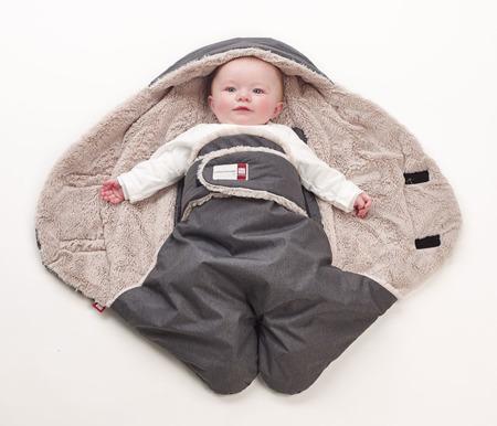 Otulacz rożekm kocyk z kapturem dla noworodków i niemowląt do fotelik Babynomade Tenderness 0-6m Heather grey, Red Castle