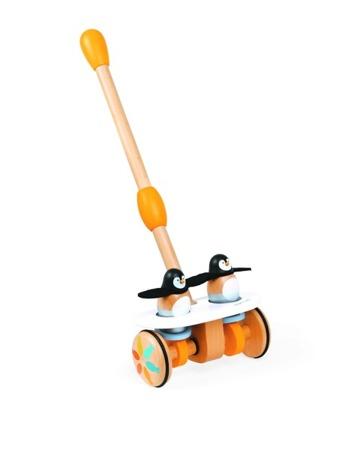 Pchacz podwójny - pingwin - drewniany pchacz dla dzieci 12m+, JANOD