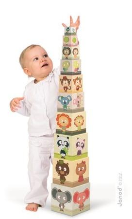 Piramida wieża Zwierzęta i cyfry - 10 kostek, Janod - nauka rozróżniania zwierząt i cyfr