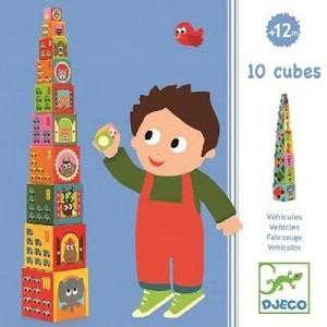 Piramida, wieża - układanka z klocków, pudełek kartonowych - POJAZDY, AUTA, 18m+ DJECO DJ08508