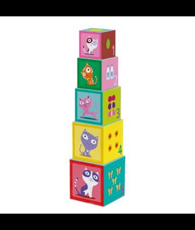 Piramida, wieża z pudełek, klocków - układanka kotki, 18m+, DJECO DJ09100