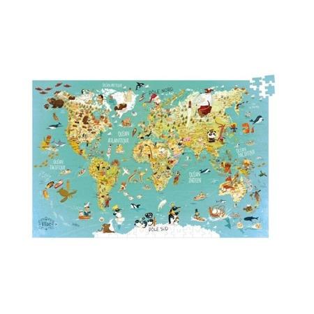 Puzzle MAPA ŚWIATA w walizce - 500 puzzli, VILAC