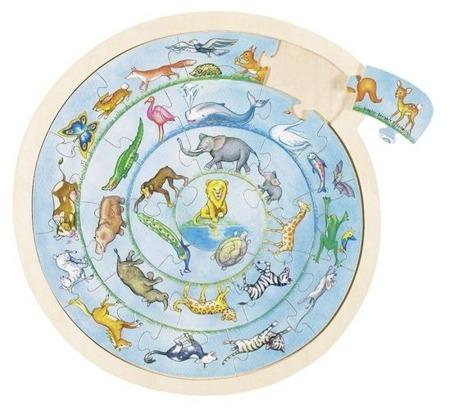 Puzzle kręgi zwierząt, 27 el., - drewniana układanka zwierzęta, GOKI