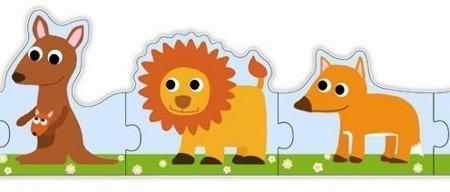 Puzzle małe u duże zwierzątka - puzzle tekturowe poznaję zwierzęta, DJECO