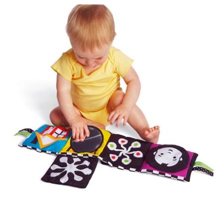 Rozkładana książeczka kontrastowa dla niemowląt 0m+ - lusterko, klapy, wstążki Wimmer Ferguson, Manhattan Toy