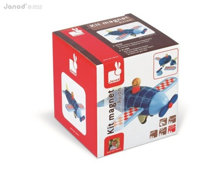 Samolot drewniany magnetyczny do zabawy dla dzieci, Janod