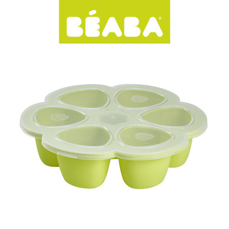 Silikonowy pojemnik do mrożenia 6 x 90 ml mleka, pokarmu, zupek dla niemowląt neon, BEABA