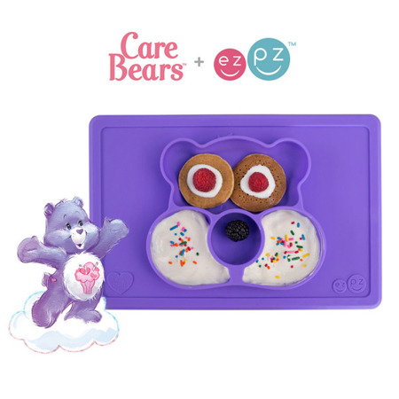 Silikonowy talerzyk z podkładką 2w1 Care Bears™ Mat Miśka Share Bear fioletowy, EZPZ