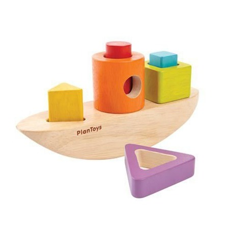 Sorter z figurami w kształcie łódki - sorter kształtów z klockami, Plan Toys