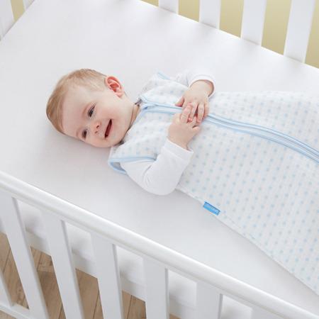 Śpiworek do spania dla noworodka i niemowląt Grobag Blue Squares o grubości 2,5 tog Jacquard, GRO Company