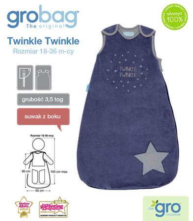 Śpiworek zimowy do spania dla noworodków i niemowląt Grobag Twinkle Twinkle o grubości 3,5 tog, GRO Company
