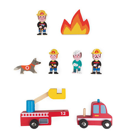 Strażacy zestaw drewniany 8 elementów kolekcja Story, Janod