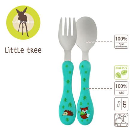 Sztućce dla dzieci 12m+ Little Tree Lis, Lassig LDISHCU151