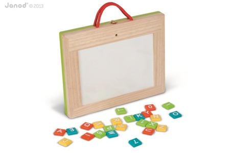 Tablica magnetyczna i kredowa, drewniana walizeczka tablica 4w1, Janod