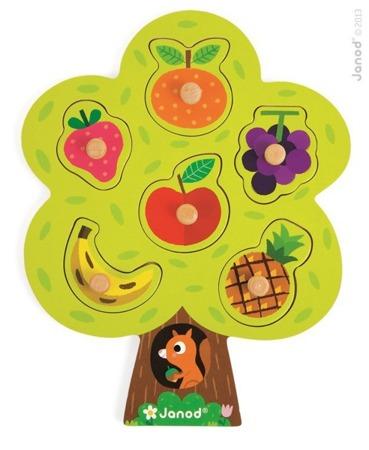 Układanka drewniana Drzewo owocowe - nauka owoców, Janod