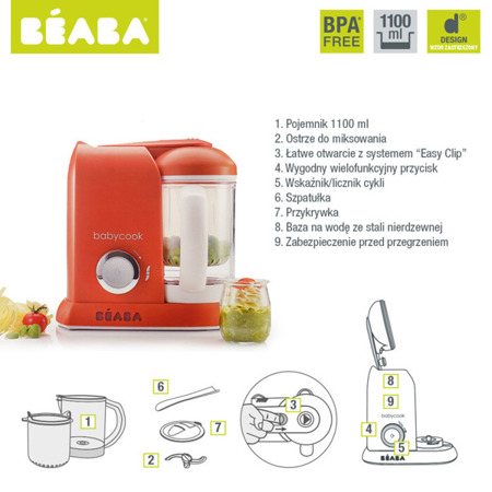 Urządzenie automat do gotowania na parze i miksowania jedzenia dla dzieci, Babycook Paprika, Beaba