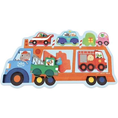 Układanka drewniana LAWETA, samochody, pojazdy, auta, 18m+, VILAC