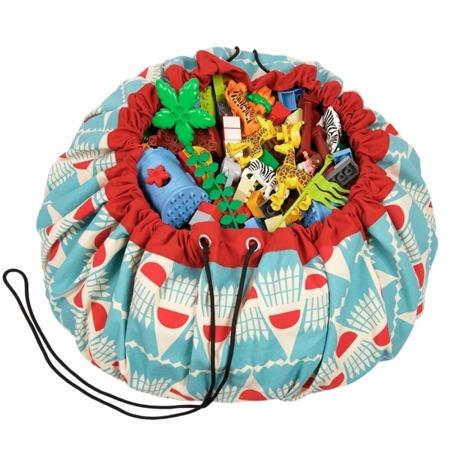 Worek na zabawki i mata do zabawy 2w1 - worek do przechowywania klocków, samochodzików itp. Badminton, Play& Go