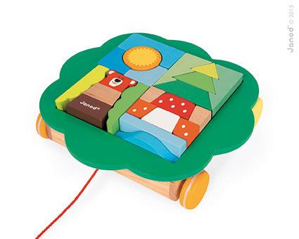Wózeczek do ciągnięcia z klockami Baby Forest - klocki w wózku ze sznurkiem, JANOD J08196