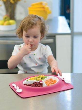 Zestaw do jedzenia - talerz dla dzieci z matą antypoślizgową + widelec i łyżka, Mate Pink, SKIP HOP