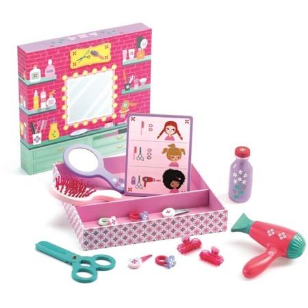 Zestaw fryzjerski dla dziewczynek, lalek, misiów - drewniana suszarka do włosów, nożyczki, szczotka i inne BETTY & BELLA, DJECO