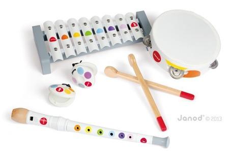 Zestaw instrumentów Janod z serii Confetti, 4 szt. w zestawie: ksylofon, flet, tamburyn oraz kastaniety, JANOD