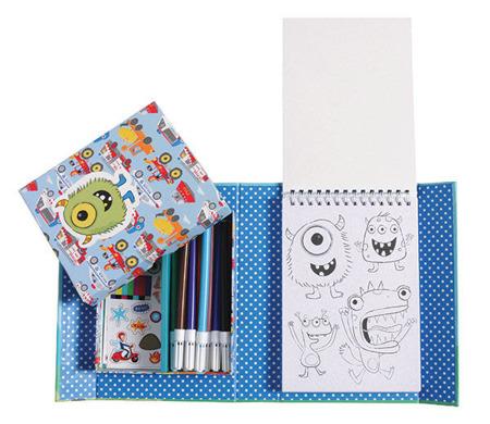 Zestaw kreatywny dla chłopca - kolorowanki pojazdy, naklejki i markery, Tiger Tribe TT-60207