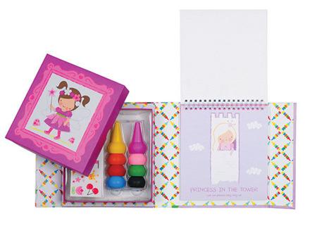 Zestaw kreatywny - kredki na palec 8 szt, kolorowanka, naklejki w ozdobnym pudełku, Tiger Tribe  TT-60217