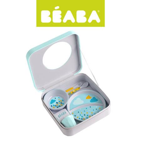 Zestaw prezentowy z melaminy: dwudzielny talerzyk, miseczka, kubeczek, śliniak i sztućce Rainbow, Beaba