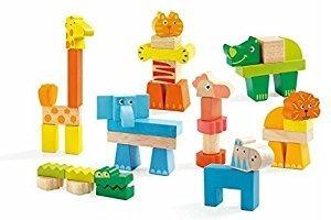 Zoo drewniane klocki zwierzęta dla dzieci 2 lata +, DJECO DJ06311